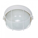 10in Bulk Head Light, Round Cage, White