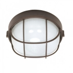 10in Bulk Head Light, Round Cage, Architectural Bronze