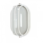 10in Bulk Head Light, Oval Cage, White