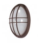 13in Bulk Head Light, Large Oval Cage, Architectural Bronze