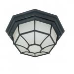 12in Outdoor Flush Mount Light, Spider Cage, Textured Black