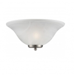 60W Ballerina Wall Sconce Light, Alabaster Glass, Brushed Nickel
