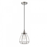 "100W Vintage 10.75"" 1-Light Caged Mini Pendant Light, Polished Nickel"