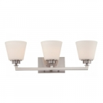 Mobili 3-Light Vanity Light Fixture, Brushed Nickel, Satin White Glass