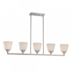 Mobili 5-Light Island Pendant Fixture, Brushed Nickel, Satin White Glass