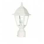 "14"" Briton Post Lantern Light, Clear Glass, White"