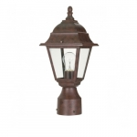 "14"" Briton Post Lantern Light, Clear Glass, Old Bronze"