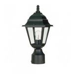 "14"" Briton Post Lantern Light, Clear Glass, Textured Black"