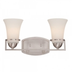 Neval 2-Light Vanity Light Fixture, Brushed Nickel, Satin White Glass