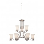 Neval 9-Light 2-Tier Chandelier, Brushed Nickel, Satin White Glass