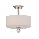 100W Connie Semi Flush Mount Light, 2-Light, Polished Nickel Finish