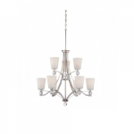 Connie Chandelier Light, 2 Tier, Satin White Glass