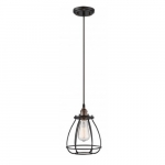 "100W Vintage 10.75"" 1-Light Caged Mini Pendant Light, Rustic Bronze"