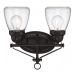 Laurel 2-Light Vanity Light Fixture, Sudbury Bronze, Clear Seeded Glass