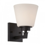 Mobili Vanity Light Fixture, Aged Bronze, Satin White Glass