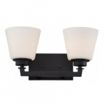 Mobili 2-Light Vanity Light Fixture, Aged Bronze, Satin White Glass