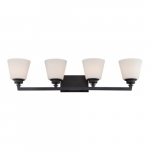 Mobili 4-Light Vanity Light Fixture, Aged Bronze, Satin White Glass