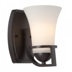 Neval Vanity Light Fixture, Sudbury Bronze, Satin White Glass