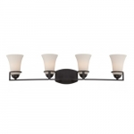 Neval 4-Light Vanity Light Fixture, Sudbury Bronze, Satin White Glass