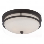 Neval Flush Mount Light Fixture, Sudbury Bronze, Satin White Glass
