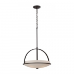 Neval Pendant Light Fixture, Sudbury Bronze, Satin White Glass