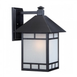 """Drexel 9"""" Outdoor Wall Fixture, Stone Black, Frosted Seed Glass"""
