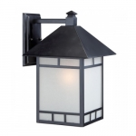 """Drexel 10"""" Outdoor Wall Fixture, Stone Black, Frosted Seed Glass"""