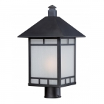 Drexel Outdoor Post Light Fixture, Stone Black, Frosted Seed Glass