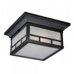 Drexel 2-Light Outdoor Flush Mount Fixture, Stone Black, Frosted Seed Glass