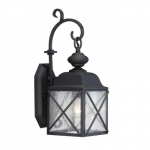 "Wingate 6"" Outdoor Wall Light Fixture, Textured Black, Clear Seed Glass"