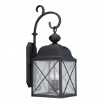 """Wingate 10"""" Outdoor Wall Light Fixture, Texured Black, Clear Seed Glass"""