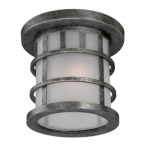 Manor Outdoor LED Flush Light Fixture, Frosted Seed Glass