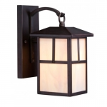 """Tanner 6"""" Outdoor Wall Light Fixture, Honey Stained Glass"""