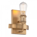 100W Wall Sconce Paxton Light Fixture, Natural Brass