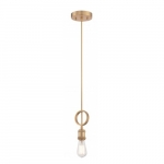 100W Mini Pendant Paxton Light Fixture, Natural Brass