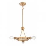 300W 3-Light Paxton Pendant Light Fixture, Natural Brass