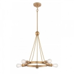 500W 5-Light Paxton Chandelier Light Fixture, Natural Brass
