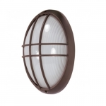 13in Bulk Head Light w/ GU24 Bulb, Large Oval Cage, Architectural Bronze