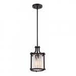 Krys Crystal Mini Pendant Light Fixture, Aged Bronze