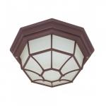 12in Outdoor Flush Mount w/ GU24 Bulb, Spider Cage, Old Bronze