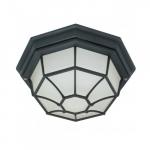 12in Outdoor Flush Mount w/ GU24 Bulb, Spider Cage, Textured Black