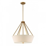 Seneca 4-Light Pendant Light Fixture, Natural Brass, Almond Mesh Fabric