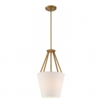 "Seneca 12"" 3-Light Pendant Light Fixture, Natural Brass, Almond Mesh Fabric"