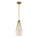 Seneca Mini Pendant Light Fixture, Natural Brass, Almong Mesh Fabric