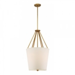 "Seneca 17"" 3-Light Pendant Light Fixture, Natural Brass, Almond Mesh Fabric"