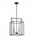 "120W Lake 14"" Square Pendant Light, Iron Black"