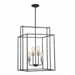 "240W Lake 19"" Square Pendant Light, Iron Black"