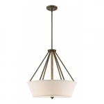 Seneca 4-Light Pendant Light Fixture, Mahogany Bronze, Beige Linen Fabric