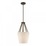 "Seneca 12"" 3-Light Pendant Light Fixture, Mahogany Bronze, Beige Linen Fabric"