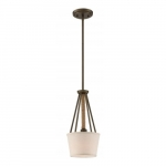 Seneca Mini Pendant Light Fixture, Mahogany Bronze, Almond Mesh Fabric